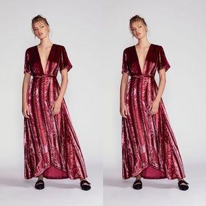 Free People Kara Velvet Wrap Maxi Dress NWOT